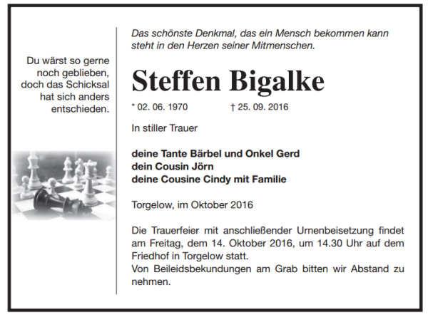 Traueranzeige Steffen Bigalke